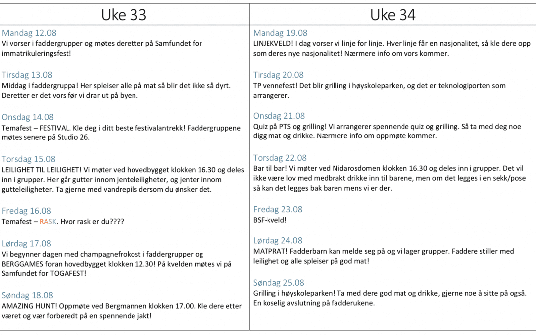 Program for fadderuke Berg 2019!