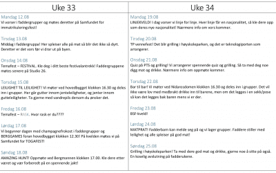 Program for fadderuke Berg 2019!